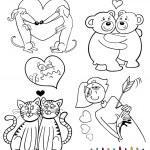 Αγίου Βαλεντίνου θέματα κινουμένων σχεδίων για το χρωματισμό — Διανυσματικό Αρχείο