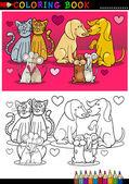 Animais no amor dos desenhos animados para colorir livro — Vetorial Stock