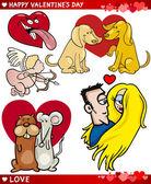 Conjunto de amor dos namorados desenho ilustração — Vetorial Stock