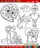 Temas de desenhos animados dia dos namorados para colorir — Vetorial Stock