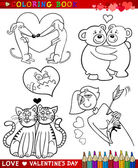 Valentine cartoon themes for coloring — Stockvektor