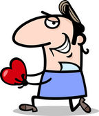 Man giving valentine cartoon illustration — Vetor de Stock
