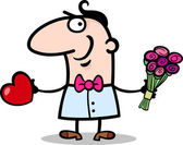 Man with heart and flowers cartoon — Vecteur