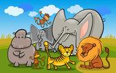 African safari wild animals cartoon illustration — Stock Vector