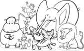 African safari animals cartoon for coloring — Stock Vector