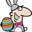 Royalty-Free Stock Vector Image: Man in easter bunny costume cartoon