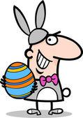 Mann in easter bunny kostüm cartoon — Stockvektor
