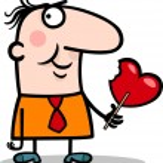 Man wit valentine hearth lollipop cartoon — Stock Vector #19059693