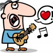 Man singing love song for valentines day — Stock Vector