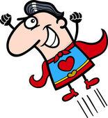 Valentine superhero man cartoon illustration — Stock Vector