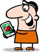 Человек с любовью сообщение на таблетки мультфильм — Cтоковый вектор
