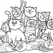 Постер, плакат: Happy cats group cartoon for coloring book