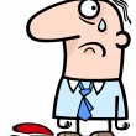 Sad man on valentines day cartoon — Stock Vector