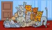 Happy cats group cartoon illustration — Cтоковый вектор
