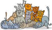 Happy cats group cartoon illustration — Stock Vector