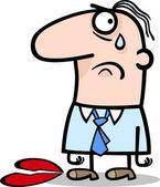 Uomo triste su cartone animato di san valentino — Vettoriale Stock
