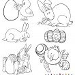 Easter cartoon themes for coloring - Stock Vector