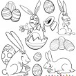 Easter cartoon themes for coloring — Stock Vector #19210839