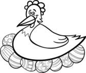Slepičí líhnutí velikonoční vejce karikatura pro barvení — Stock vektor