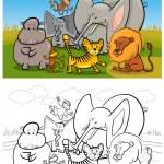 African wild animals cartoon for coloring book — Stock Vector