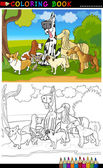Purebred dogs cartoon for coloring book — 图库矢量图片