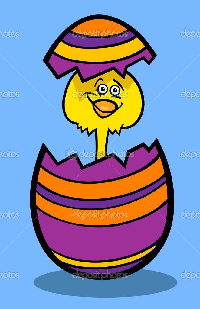 Poussin oeuf de Pâques illustration de dessin animé — Image vectorielle izakowski © #19240603