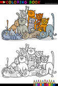 Cats cartoon illustration for coloring book — Stock Vector