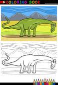 Cartoon diplodocus dinosaur coloring page — Stock Vector
