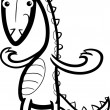 Cartoon lizard or dinosaur coloring page — Stock Vector