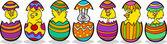 Hühner in ostereier cartoon illustration — Stockvektor