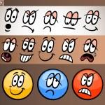 Emoticon elements set cartoon illustration — Stock Vector