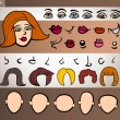 Woman face elements set cartoon illustration - 图库矢量图片