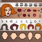 Woman face elements set cartoon illustration — Stock Vector