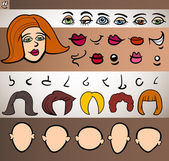 Woman face elements set cartoon illustration — Vector de stock
