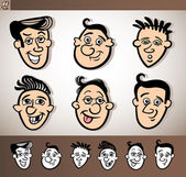 Cartoon men heads set illustration — Stock Vector