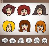 Set ilustración de dibujos animados mujeres cabezas — Vector de stock
