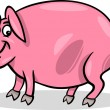 Vector de stock : Pig farm animal cartoon illustration