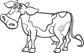 Farm cow cartoon for coloring book — Stock Vector