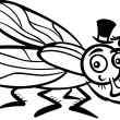 Housefly cartoon for coloring book — Stock Vector