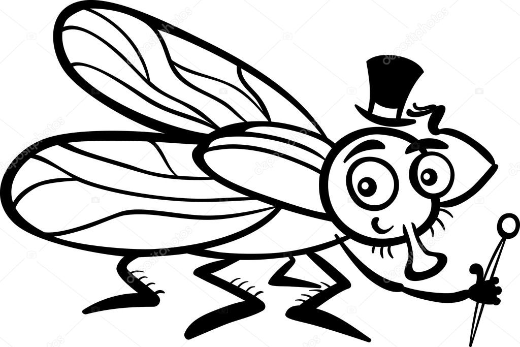 Fly Cartoon Drawing Black And White Cartoon