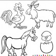 Stock Vector: Cartoon Farm Animals for Coloring Book