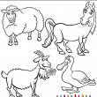 Cartoon Farm Animals for Coloring Book — Stock Vector