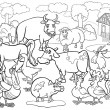 Stock Vector: Farm animals cartoon for coloring book