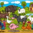 Farm animals country scene cartoon illustration - Stock vektor