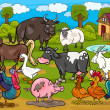 Farm animals country scene cartoon illustration - Imagen vectorial