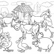 farm animals cartoon for coloring book — Stock Vector