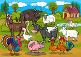 Farm animals country scene cartoon illustration — 图库矢量图片