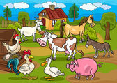 Farm animals rural scene cartoon illustration — Stock Vector