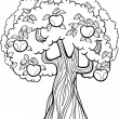 Apple tree cartoon for coloring book — Stock Vector
