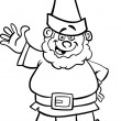 Gnome or dwarf cartoon for coloring book — Stock Vector